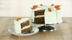 A carrot cake with cream cheese frosting (USA) - stock footage