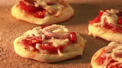 Mini pizzas being baked in a wood-fired oven (time lapse) Stock Footage