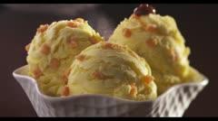 Vanilla caramel ice cream with chocolate sauce Stock Footage