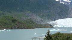 Mendenhall Glacier Nugget Falls Juneau Alaska pan HD 6981 Stock Footage