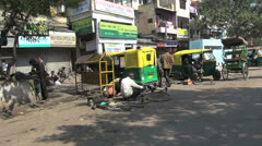 Delhi Chandni Chowk from a bicycle rickshaw Stock Footage