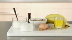 Ingredients for banana bread Stock Footage