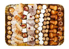tray of mixed patisserie - stock photo