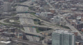 Highway Rush Hour, Aerial view of Kennedy Expressway, Downtown Chicago Skyline Footage