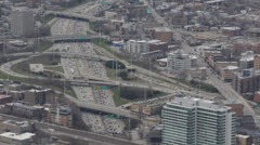 Highway Rush Hour, Aerial view of Kennedy Expressway, Downtown Chicago Skyline Stock Footage