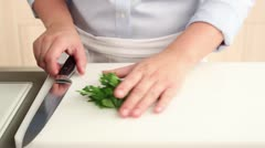 Chopping parsley - stock footage