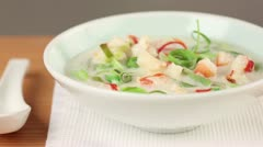 Coconut milk soup with prawns - stock footage