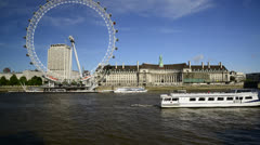 London Eye and River Thames on Summer day timelapse Stock Footage