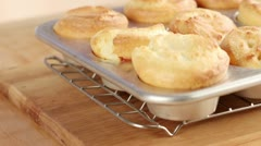 Yorkshire puddings in a muffin tin - stock footage