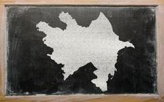 Stock Illustration of outline map of azerbaijan on blackboard