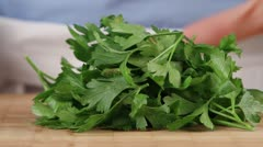 Parsley being chopping (close-up) - stock footage