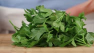 Stock Video Footage of Parsley being chopping (close-up)