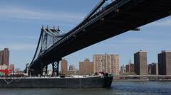 Cargo Ship, Manhattan Bridge, New York City Skyline, Empire State Building, Ship Stock Footage