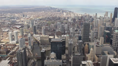 Downtown Chicago Skyline, Aerial view of Lake Michigan, John Hancock Center Stock Footage