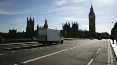 Traffic over Westminster Bridge in London Stock Footage