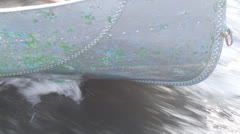 Stock Video Footage of boat close up, rushes on waves dissecting water