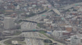 Aerial view of Highway Traffic Jam, Downtown Chicago Skyline, Kennedy Expressway Footage