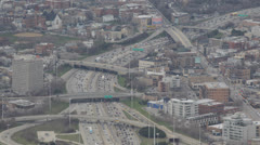 Aerial view of Highway Traffic Jam, Downtown Chicago Skyline, Kennedy Expressway Stock Footage