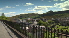 Arthurs seat over railing Stock Footage