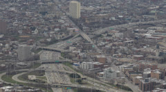 Commuters Kennedy Expressway, Aerial view, Highway Traffic Jam, Chicago Skyline Stock Footage