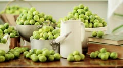 Brussels sprouts in assorted pots and dishes - stock footage