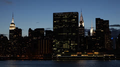 United Nations Plaza, Empire State Building, New York City Skyline, UN by dusk Stock Footage