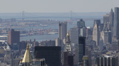 Aerial View of Verrazano-Narrows Bridge, New York City, East River, Skyscrapers Stock Footage