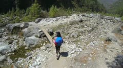 Himalayas tracking, rear view of female mountaineer Stock Footage