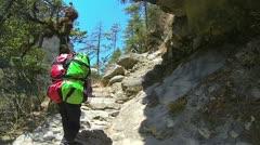 Walk thru Himalayas mountain Stock Footage