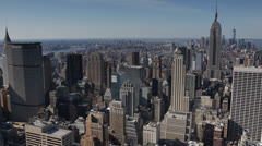 NYC Skyline Skyscrapers, Midtown Manhattan, Aerial View of Empire State Building Stock Footage