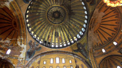 Interior of Hagia Sophia Basilica - stock footage