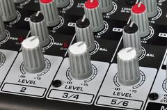 music mixing board - stock photo