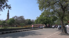 Delhi street by Qutub Minar time lapse s Stock Footage