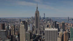 Aerial View of Empire State Building, NYC Skyline, Midtown Manhattan Skyscrapers Stock Footage