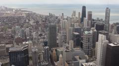 Trump Hotel, John Hancock Center, Aerial view of Downtown Chicago Skyline Stock Footage