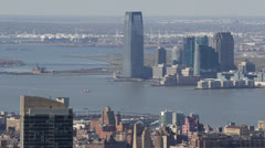 Aerial View of Jersey City, New Jersey State, Hudson River, Skyscrapers, USA Stock Footage