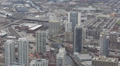 Highway Traffic Jam, Kennedy Expressway, Aerial view of Downtown Chicago Skyline HD Footage