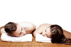 couples retreat relaxing spa - stock photo