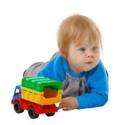 Funny kid with a toy car Stock Photos