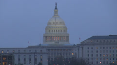 Aerial view of The United States Capitol dome in twilight, Washington DC, USA Stock Footage