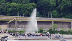 The Fountain Turns On in Pittsburgh Stock Footage