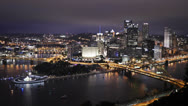 Stock Video Footage of Pittsburgh Skyline Time Lapse 4K Ultra-HD Night
