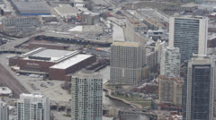 Chicago Tribune Building, Aerial view of Downtown Chicago Skyline, Skyscrapers Stock Footage