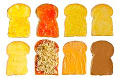 Several  toast with various topping Stock Photos