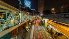 Timelapse of Lightrails And Monorel Trains Stock Footage