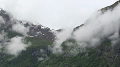 Misty mountain Norway Stock Footage