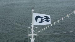 Princess cruise ship logo flag on boats bow Pacific Ocean HD 6847 Stock Footage