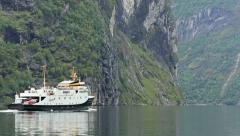 Ferry Fjord Norway rear view Stock Footage