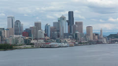 Seattle skyline urban city center from moving boat HD 6849 Stock Footage