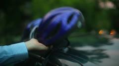 Bike helmets helmet biking Stock Footage